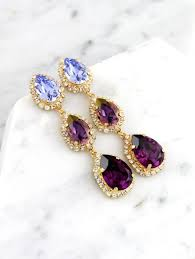 purple chandelier bridal plum long earrings swarovski chandelier earrings bridal purple crystal earrings lilac purple statement earrings 2634393
