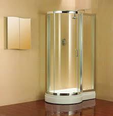 Bathroom Corner Glass Shower Enclosure With Black Door Handle And
