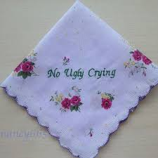 no ugly crying handkerchief mother of the bride gift bridesmaid gift personalized wedding hanky pretty purple fl hankie