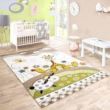 Kinderteppich Baby Giraffe Pastelltöne Beige Kinder Teppiche