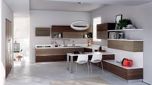 brown bamboo cabinets modern italian design white island countertop and floating shelves pendant lights cream kitchen rug bird sculpture