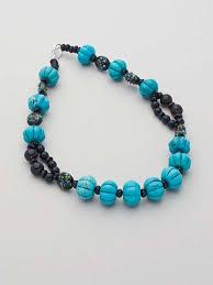 turquoise melon and smokey quartz beaded gem necklace