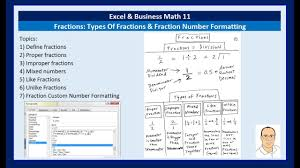 business math excel business math 11 types of fractions fraction number formatting