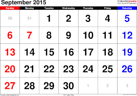 September 2015 Calendars For Word Excel Pdf