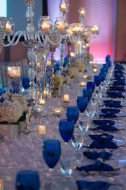 Royal Blue Wedding - Family Styled Seating Reception Table - Blue Goblets -  Blue Reception Decor - Candelabras - Silver Chargers - Ivory and White  Petal ...
