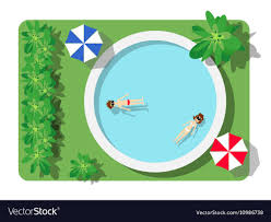 Top view of the swimming pool Royalty Free Vector Image