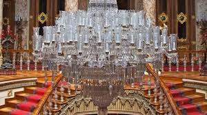 fourteen tonnes of gold were used to gild the ceilings the world s largest bohemian crystal chandelier is in the ceremonial hall