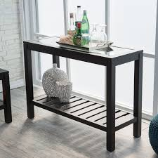 sutton glass top console table with slat bottom  hayneedle