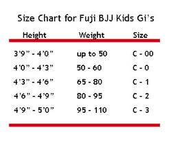 Fuji Gi Size Chart Fuji Victory Kids Bjj Gi Pink