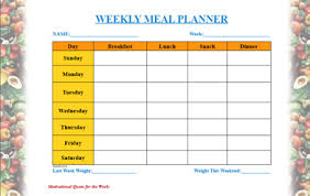 weekly menue planner meal planner template
