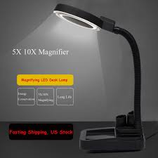 5x 10x desk table lamp magnifier magnifying light glass led clamp adjule