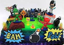 superhero sheet cake amazon com super hero pj masks deluxe birthday party cake topper
