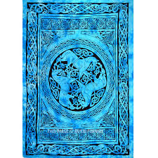 turquoise blue celtic unicorn three horses tie dye tapestry wall hanging