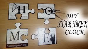 diy geek chic star trek puzzle pieces home decor wall art home clock you