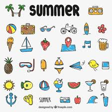 Summer Icons Colorful Summer Icons Free Vector