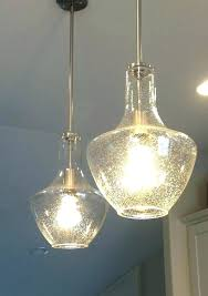 seeded glass pendant light lights clear