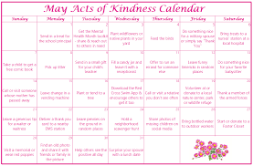 calendar for the month of may may acts of kindness calendar