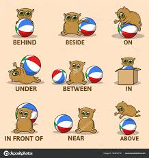 Preposition Chart For Kids Table Of Prepositions Of Place With Funny Animal Character