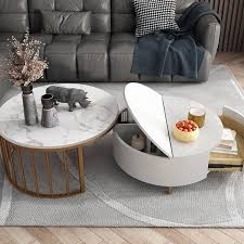 modern white round coffee table with