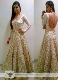 Backless Design Gorgeous Backless Design Off White Anarkali Suit With