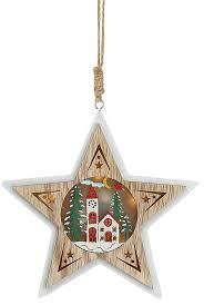Fensterhänger Holz Led Stern Mit Beleuchtetem Wintermotiv Kirche Weihnachtsstern Natur Weiß 15x145cm 3d