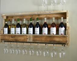 Bar Kitchen Decorating Inspiring Pallet Wine Rack With Hanging Glass Ideas In