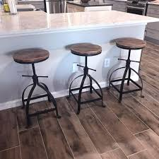 Details About Ikayaa Industrial Style Bar Stool Adjustable Height Swivel Dining Chair Wood Top