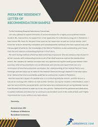 Astonishing Pediatric Residency Letter Of Recommendation
