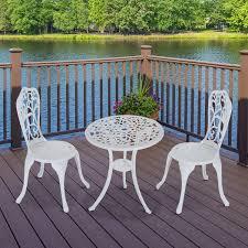 outdoor white furniture. 3-Piece Garden Bistro Set - Indoor/Outdoor Cast Aluminum White Outdoor Furniture
