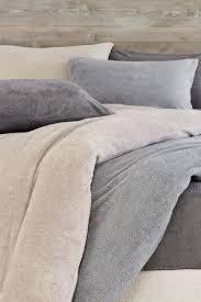 next super soft fleece duvet cover and pillowcase set grey