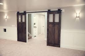 double byp sliding barn doors wood closet interior