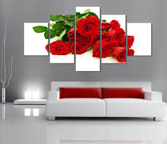 Painting Canvas For Living Room Online Get Cheap Red Rose Canvas Aliexpresscom Alibaba Group