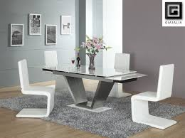 furniture beautiful unique glass dining tables 38 splendid white rectangle room with v shaped legs and