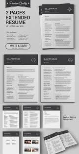 Extended Resume Template 2 Pages Resume Cv Extended Pack 2page Resume Cv