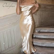 Ordifree 2019 Summer Women Long Satin Slip <b>Dress</b> Vintage ...
