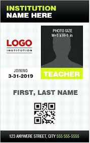 Teacher Id Card Template Student Maker Easy And Free The Home