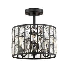 Kichler 38171 Distressed Wood Semi Flush Mount Light Kristella 12 5 In 3 Light Matte Black Semi Flush Mount Light With Clear Crystal
