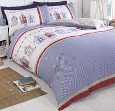 beach huts checked gingham blue red white duvet cover quilt set