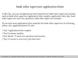 Best Ideas Of Cover Letter For Teller Supervisor Position With