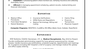 Resume Templates Exceptional Receptionist Sample For Hotel With No ...