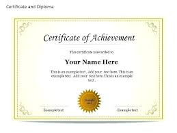 Certificate Of Achievement Word Template High School Diploma