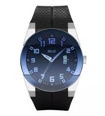 Relic Watch Battery Chart Mens Relic Folio Elegant Satin Steel Quartz Watch Black