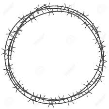 Barbed wire circle border vector illustration isolated on white