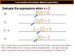 and evaluate algebraic expressions match