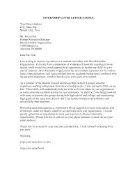 Student Summer Internship Cover Letter Sample For Human Resources