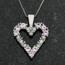 image 1 of 6 14k white gold genuine diamond pink sapphire necklace