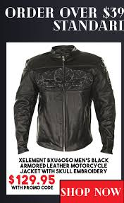 xelement bxu6050 men s black armored leather motorcycle jacket with skull embroidery