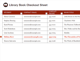 Check Out Sheet Library Book Checkout Sheet