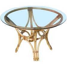 red rattan bentwood dining table with round glass top for at 1stdibs
