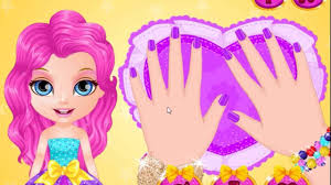 baby barbie glittery nails makeup best baby cartoon games for little s